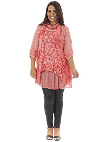Love My Fashions Damen Vorderseite Spitze Italian Kleid mit Passender Schal Einheitsgröße Fushia Pink