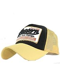 Kingko/_ Letter Patch The Jndian No.7 Vintage Colorful Hip-Pop Baseball Cap Meshed Distressed Trucker Hat