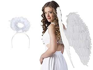 Déguisement d'ange blanc: 2 accéssoires: Ailes + auréole (KV-28) flexible convenable aux adultes et aux ados accessoire idéal pour se déguiser et faire la surprise lors de vos soirées déguisées spéctacle theatre déguisement fête carnaval ambiance fille femme jeune