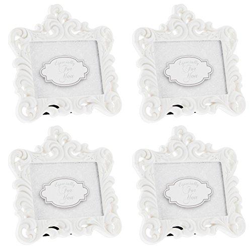 Unbekannt Fashioncraft Weiß Barock-Stil 4Stück Kunstharz Frames-Nimmt 7x 5,1cm Foto