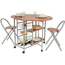ts-ideen Juego de comedor de tres piezas, mesa de desayuno fibra de madera, 79 x 110 cm con ruedas silla sillas para la cociana, comedor, Apto de estudiante u