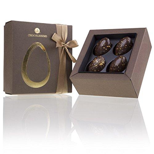 4 Golden Half Eggs - Osterei-Hälften aus Schokolade   Premium Qualität in edler Schachtel mit Schleife   Schokoladeneier   Ostergeschenke für Frauen und Männer