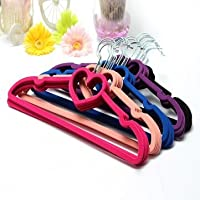 High Quality 5pcs Velvet Non-Slip Heart Shaped Clothes Hanger - Black