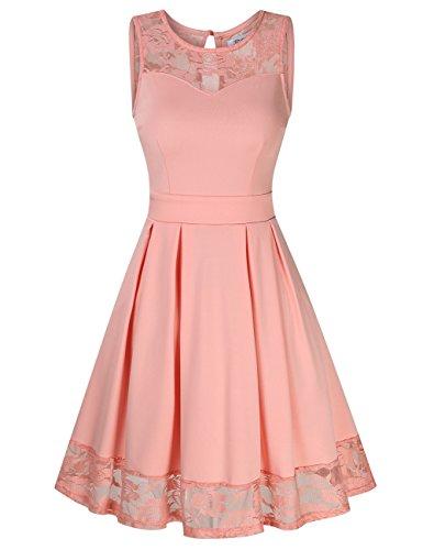 KOJOOIN Damen Elegant Kleider Spitzenkleid Ohne Arm Cocktailkleid Knielang Rockabilly Kleid Rosa XS (Kleider Für Frauen Rosa)