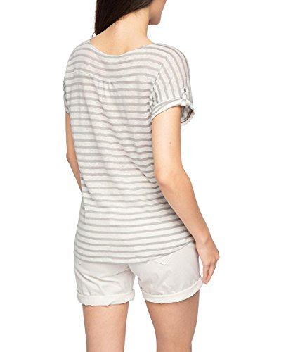 ESPRIT Damen T-Shirt 056ee1k013-Gestreift Mehrfarbig (LIGHT GREY 040)