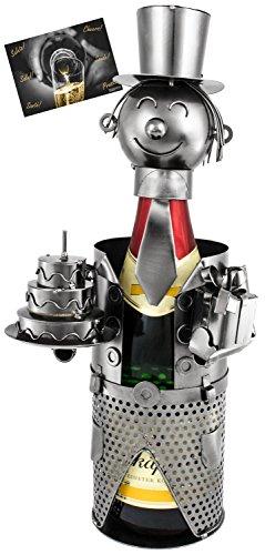 Brubaker Portabottiglie per Spumante o Champagne - Scultura in Metallo per Compleanno con Carta Regalo