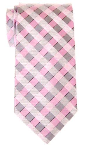 Retreez Herren Gewebte Krawatte Klassische Karo 8 cm - rosa und grau