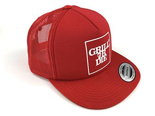 GRILL OR DIE® Trucker Cap ★ Snapback 2 rot mit weissen Aufdruck in Premium-Qualität ★ Special Edition BBQ Grill Zubehör (Rot)