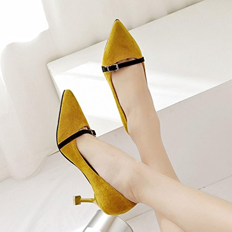 Luz-mate, los zapatos de tacón alto solo zapatos, Amarillo 38