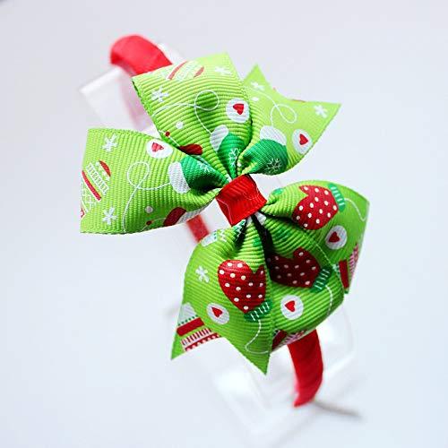 Kercisbeauty - Diadema unisex lazo color verde rojo