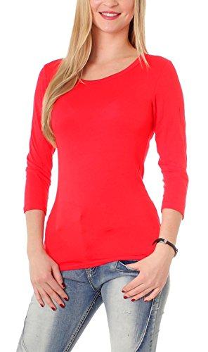 Easy Young Fashion Damen Basic Halbarm Shirt Rundhals Uni Hochrot