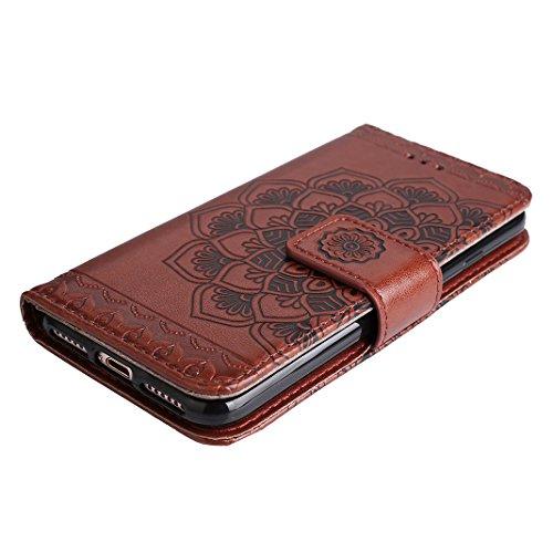 iPhone 7 Leder Hülle Mandala, Rosa Schleife PU Ledertasche Flip Wallet Book Cases TPU inner Soft Backcover Mandala Muster Schutzhülle mit Magnetverschluss und Standfunktion Handyhülle für iPhone 7 Braun