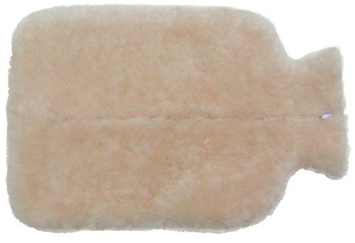 Preisvergleich Produktbild weicher Bezug für Wärmflaschen aus Lammfell mit Reißverschluss naturweiß, waschbar, ca. 29x20 cm (klein)
