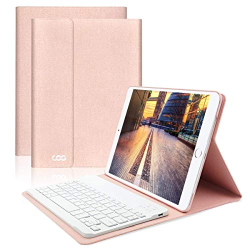 COO iPad Hülle Tastatur für 9,7'' iPad 2018(6 Gen), 2017 iPad (5 Gen), iPad Pro 9.7, iPad Air/Air 2,iPad Bluetooth Keyboard Case mit Ultra Slim QWERTZ Magnetische Abnehmbare Tastatur(Champagner)