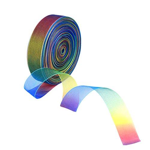 50 Yard 1 Zoll Schimmer Sheer Organza Band, Regenbogen Farben -