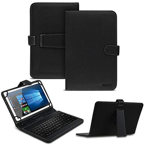NAUC Keyboard USB Tastatur Ultra für Trekstor Surftab B10 Tablet QWERTZ Tastatur mit Schutzhülle aus Kunstleder mit Standfunktion und Magnetverschluss