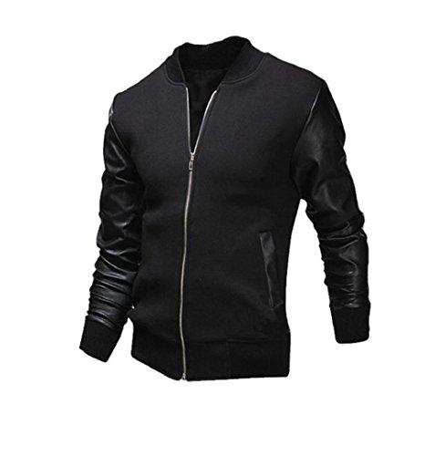 Männer Winter Mantel mit Kontrasten Slim Fit | ZEZKT-Herren Freizeit Open Jacke Weihnachten Lederjacke Cardigan (XL, Schwarz)