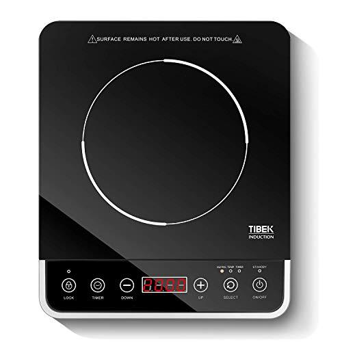 Tibek Piastra Induzione 2000W FornelloadInduzione Portatile Fornello Elettrico Multifunzione con LED Display Digitale, Controlli Touch Timeri, 10 Livelli Piastra Elettrica per Cucinare
