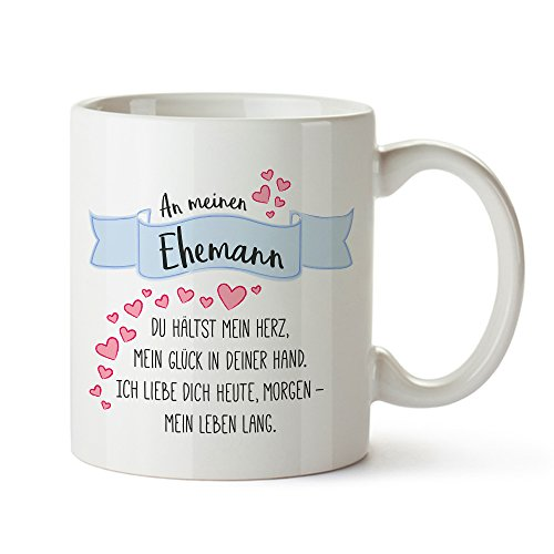 Tassenwerk Romantische Tasse mit Liebesgedicht Aufdruck – Ehemann– Standard – Kaffee - oder Tee-tasse – Geschenk zum Geburtstag – Jahrestag – zum Valentinstag – Geschenk für Männer – für Paare