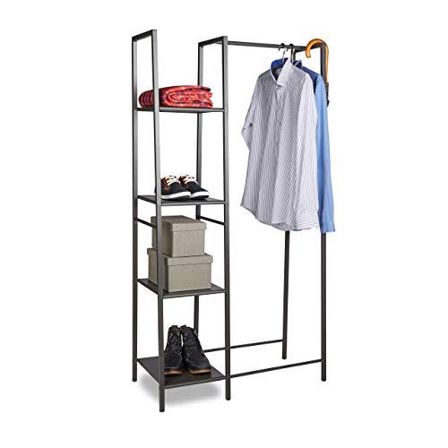 Relaxdays Kleiderständer Metall, Offener Kleiderschrank, Freistehend, 4 Ablagen, Kleiderstange, HxBxT: 162 x 85 x 40 cm, grau