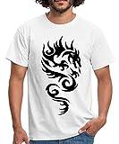 Spreadshirt Tribal Dragon Drachen Drache Tattoo Mystisch Männer T-Shirt, S, Weiß