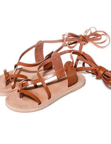 LFNLYX Scarpe Donna-Sandali-Tempo libero / Formale / Casual-Aperta / Con cinghia / Toe ring / Decolleté con cinturino / Alla schiava-Piatto-Di almond