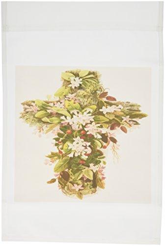 3dRose FL _ 128398_ 1Cruz Cristiana de flores una imagen de una cruz adornada con bandera de jardín, diseño de flores, 12por 18pulgadas