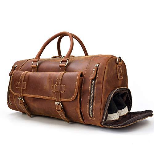 Herren Echte Leder Reisetasche Reisetasche Top Grain Rindsleder Hohe Kapazität Vintage Wochenende Tasche (Light Brown) -