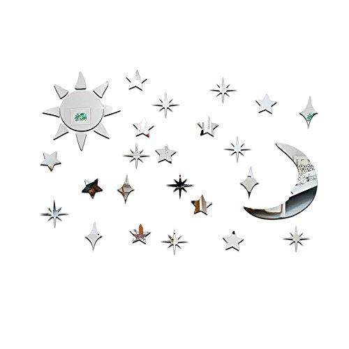 TOOGOO(R) 3D Sonne Mond Sterne Spiegeleffekt Wandaufkleber Modedesign Kunst-Abziehbilder Hauptdekoration - Und Sonne Mond Badezimmer Sterne