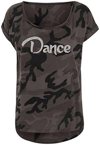 Livingstyle & Wanddesign Damen Camouflage T-Shirt Glitzer Dance Dark Camo Silber, Gr. M