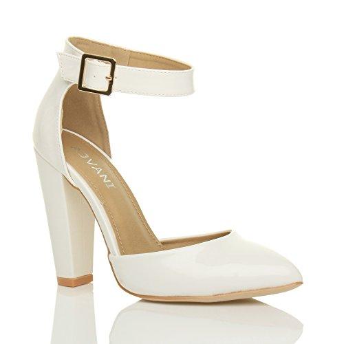 c5d5183c4a4a5 Femmes haute large talon boucle lanière pointu escarpins chaussures  pointure Verni blanc
