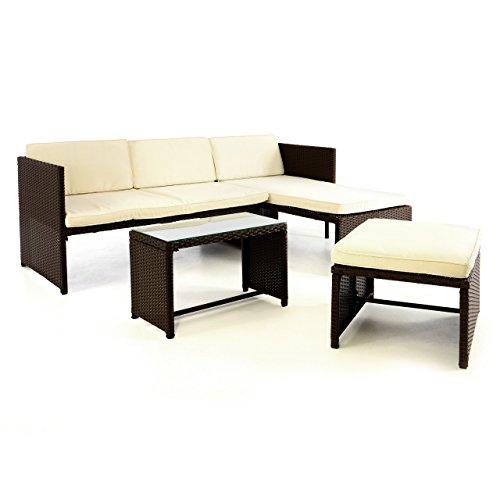 SONLEX 3tlg Rattanset Sitzecke mit Tisch mit 2 Hocker und 1 Sofa Garnitur Sitzgruppe - Polster beige - Poly Rattan braun - Gartenmöbel Lounge In- und Outdoor