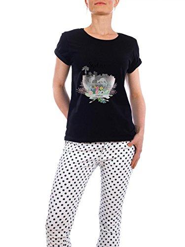 """Design T-Shirt Frauen Earth Positive """"Sydney Collage"""" - stylisches Shirt Städte Städte / Sydney Reise von Claudia Schön Schwarz"""