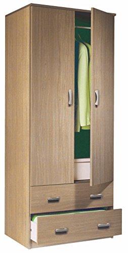 Armario ropero color roble de 2 puertas y 2 cajones, barra cromada para colgar incluida, para dormitorio. 180cm altura x 74cm alto x 50cm fondo.