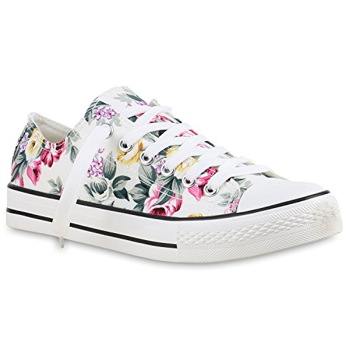 Damen Herren Kinder Unisex Schuhe Sneaker low Top Schnürschuh Halbhoch Weiss Blumen
