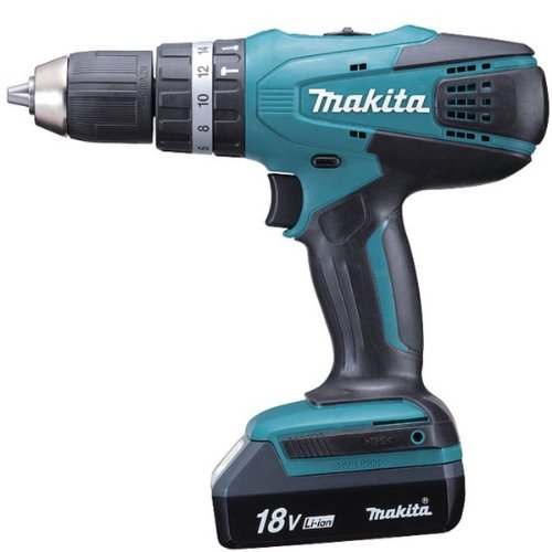Makita HP457DWE3 - Taladro percutor 18V con 3 baterias Litio-Ion 1.5 Ah 1400 RPM 1.7 Kg 42 Nm