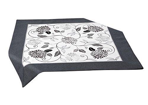 Beautex Tischläufer Tischband Tischdecke Mitteldecke, Blumen Stickerei weiß/grau, Größe wählbar, Mitteldecke 85 x 85 cm