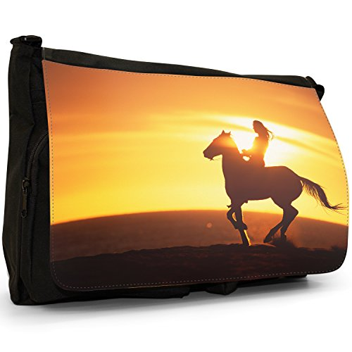 Fancy A Bag Borsa Messenger nero Cowboy On Horse Silhouette Of Woman Riding Horse At Sunset