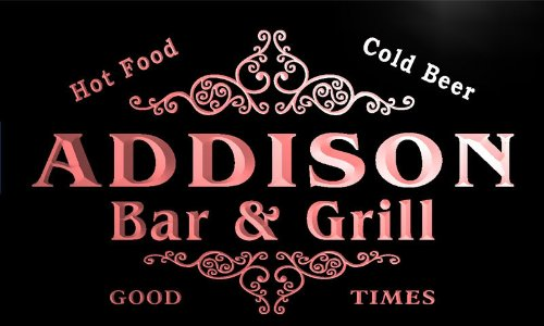 u00200-r ADDISON Family Name Bar & Grill Cold Beer Neon Light Sign Barlicht Neonlicht Lichtwerbung (Addison-namen)