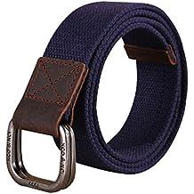 Sitong cuero genuino hebilla doble bucle de los pantalones vaqueros de la correa de lona de la correa (8 colores)