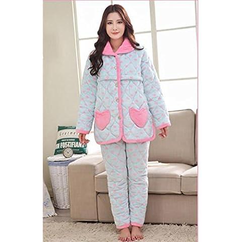 Button-Up Sleepwear Set delle donne più spesse a tre livelli