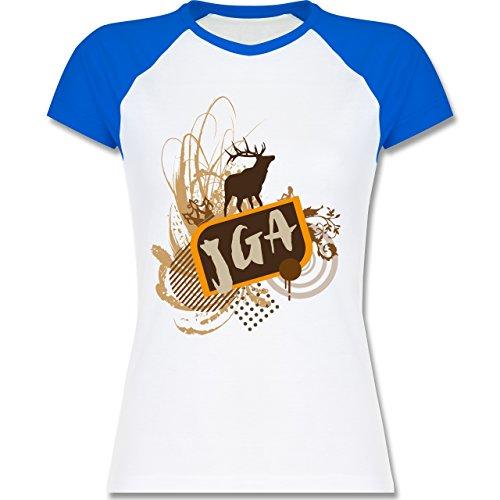 JGA Junggesellinnenabschied - JGA Hirsch Grunge - zweifarbiges Baseballshirt / Raglan T-Shirt für Damen Weiß/Royalblau