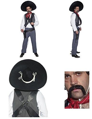 iger Herren Erwachsene Authentic Western Mexikanischer Bandit Kostüm Spaghetti Western Clint Eastwood Medium nur INC Kostüm Sombrero und Schnäuzer (Clint Eastwood Cowboy Kostüme)