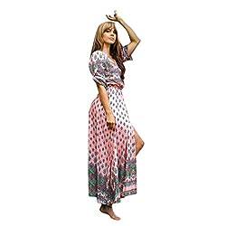 Brezeh Womens Dress,Women Ladies Summer Boho Tunic V Neck Floral Long Maxi Dress Loose Beach Dress Evening Party Casual Dresses