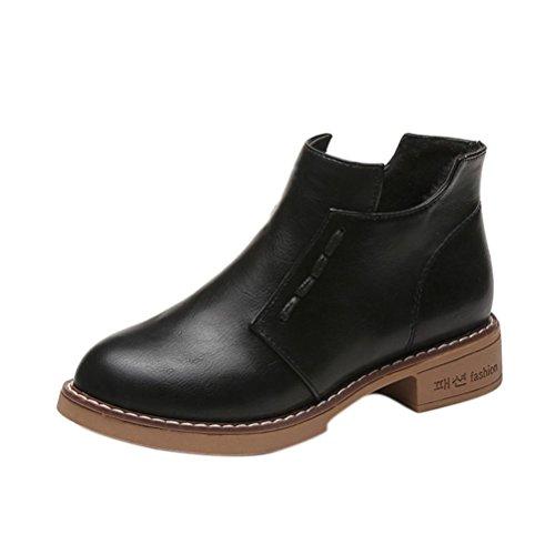 Stiefel Damen Schuhe Sonnena Ankle Boots Frauen Kurze Stiefel Women British Stil Martin Stiefel Frühling Herbst Stiefel Outdoor Kunstleder Schlupfstiefel mit Reißverschluss (40, Sexy Schwarz) (Form Höschen Kurzen)
