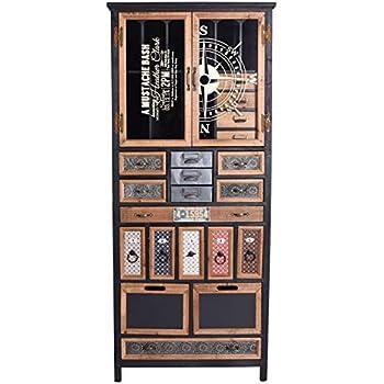 Vitrinenschrank Loft Schubladenschrank Metallschrank Vitrine Industrial Kommode