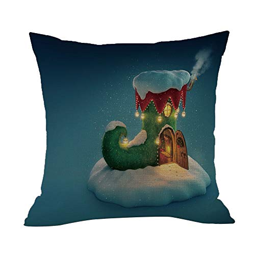 Tatis Kissenbezug Dekorativer Kissenbezug des Weihnachtsnamens netten Karikaturdruckes Happy Christmas Kissenbezüge Leinen Sofa Kissenbezug Home Decor Kissenkern 45 x 45cm im 12Arten