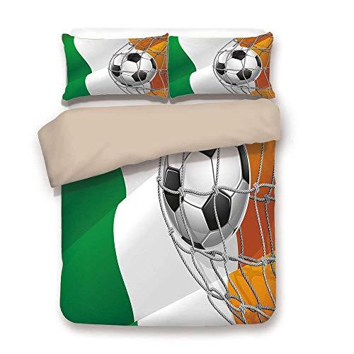 Soefipok Bettbezug-Set, Irisch, Sport-Thema-Fußball in Einem Netto-Spielziel mit der irischen Nationalflagge Victory Win, Multicolor, Dekor 3 Stück Bettwäsche-Set von 2 Pillow Shams Twin Size -