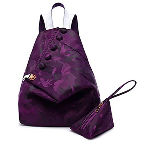 2 PCS/Set Mochila para Mujer Mochilas Escolares Purple 29x15x34cm