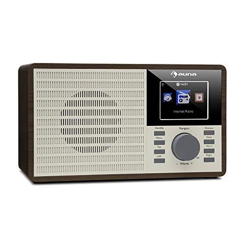 auna DR-160 - Radio BT DAB + / FM, Radiosveglia, Radio Bluetooth, USB, AUX, Display TFT da 2,4', Sleeptimer, Legno, Marrone